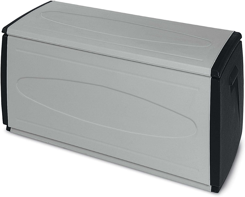 Terry Prince Black 120 Baul Multifuncional con Capacidad 308 litros. Se Puede Utilizar en ambientes internos y externos, Negro, Gris, 120x54x57 cm