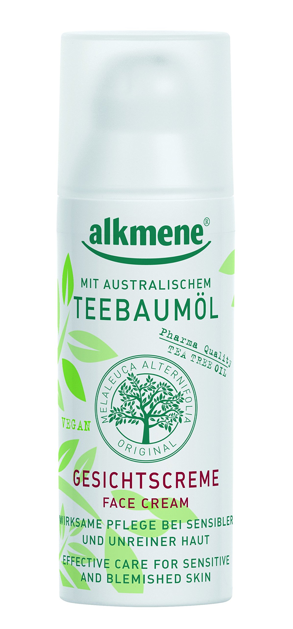 Tea Tree Oil Face Cream from Germany Vegan Paraben Free Quick Absorbing Hydrating & Moisturizing for Oily Acne Prone & Sensitive Skin Infused with Tea Tree Oil 50 ml by Alkmene