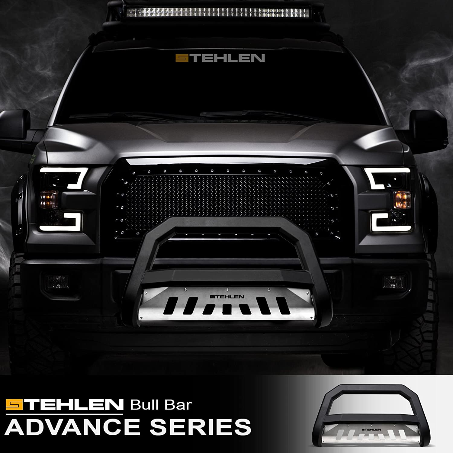 Matte Black//Brush Aluminum Skid Plate Stehlen 714937183766 Advance Series Bull Bar
