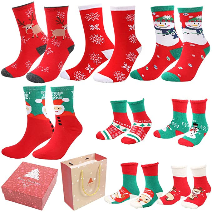 Gifort 8 Pairs Christmas Holiday Socks Christmas Socks Set with 4 Pairs of Adult Socks and