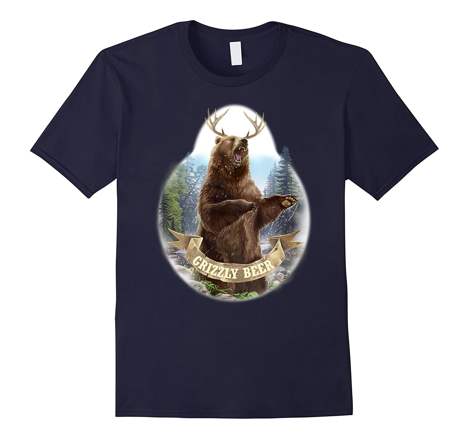 BEAR  DEER  GRIZZLY BEER King of the Rockies Funny T-Shirt-CD