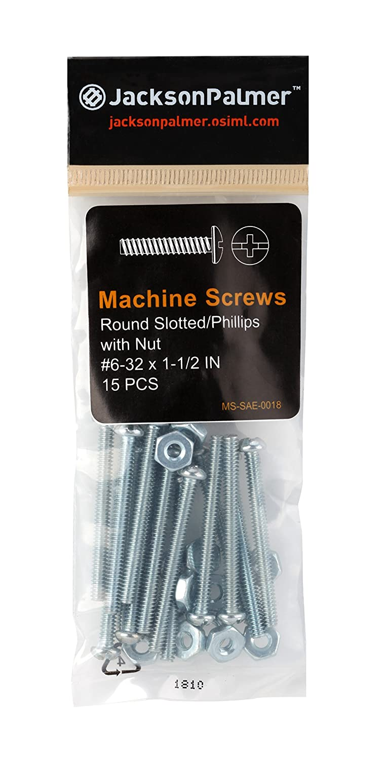 8 Ct Machine Screws with Hex Nuts Round Head Slotted//Phillips Zinc Plated 1//4 x 1-1//2 32 Sizes