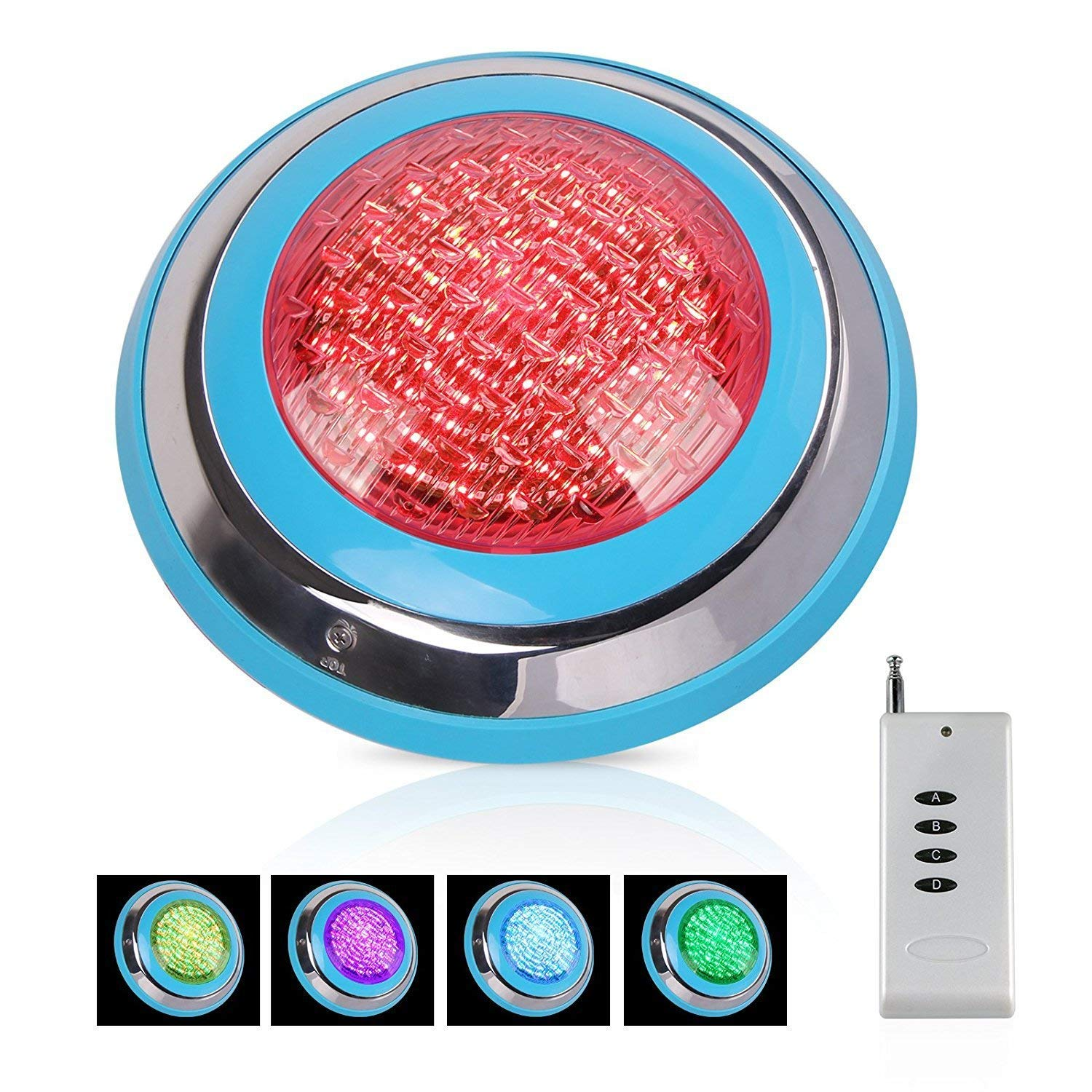 TOPLANET 48w Led Piscina Iluminacion Piscina Led Pool Light RGB Impermeable IP68 Control Remoto para Swimming