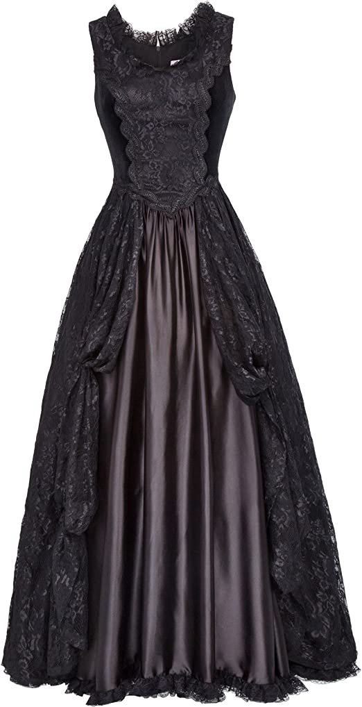 Women Steampunk Gothic Victorian Long Maxi Dress