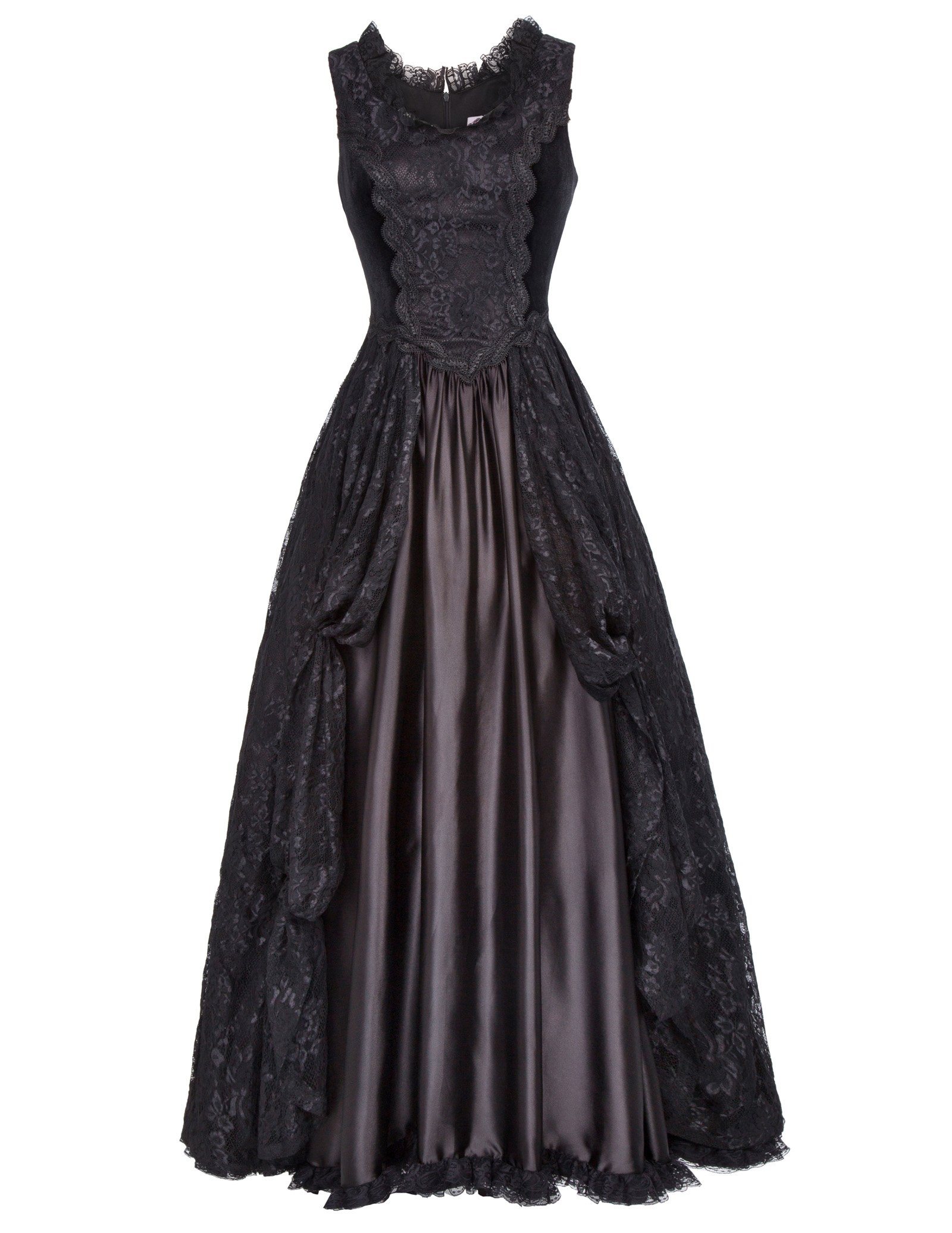 Women Victorian Gothic Lace Vintage Style Dress High Waist Sleeveless XL Black by Belle Poque