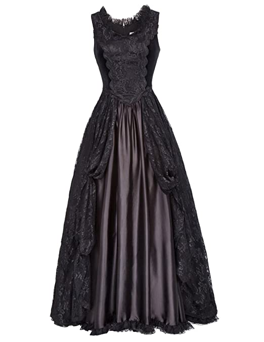 Steampunk Wedding Dresses | Vintage, Victorian, Black Belle Poque Steampunk Gothic Victorian Long Dresses High Waist Women Maxi Dress BP000378 $49.99 AT vintagedancer.com