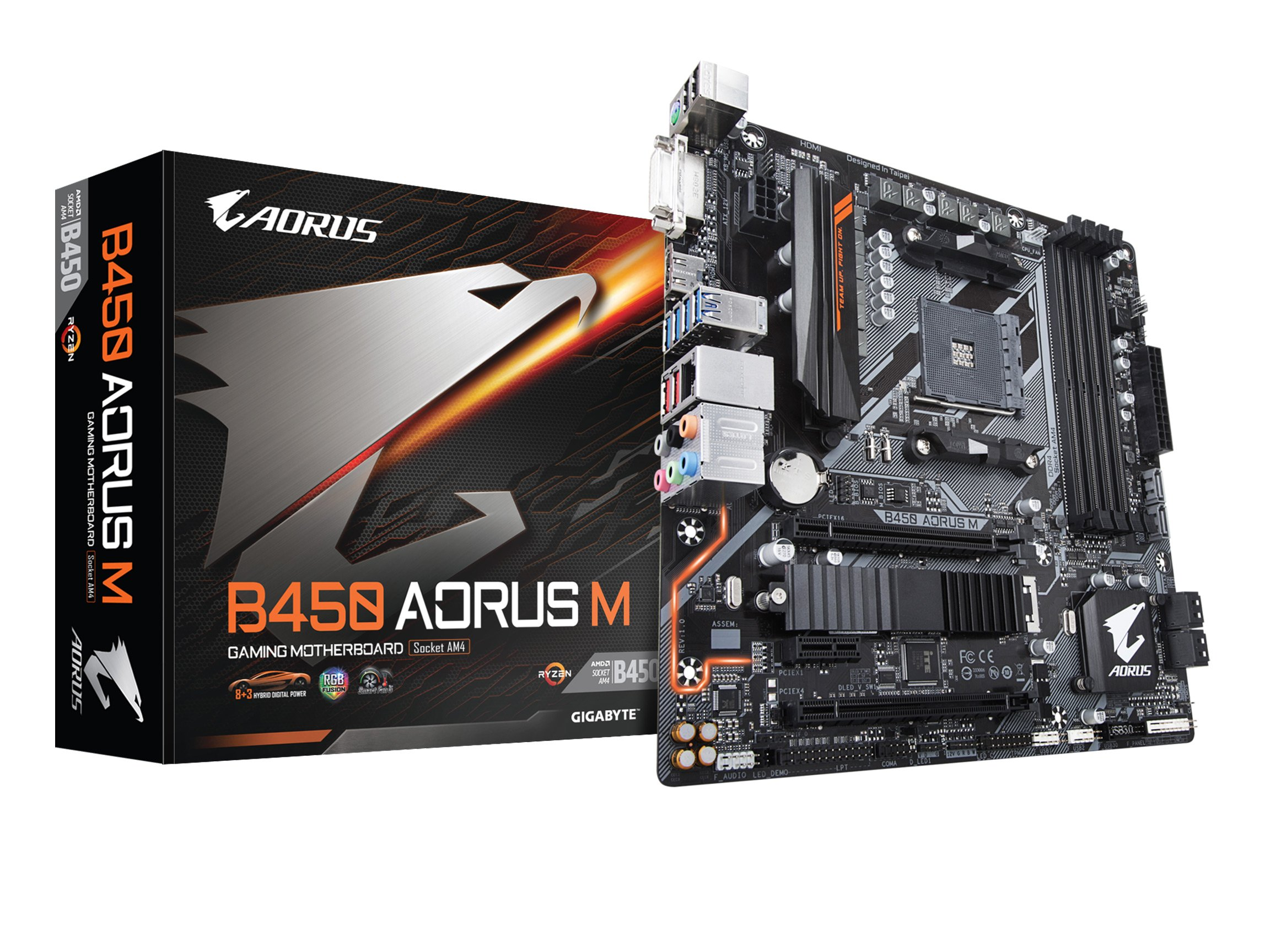 GIGABYTE B450 AORUS M (AMD Ryzen AM4/M.2 Thermal Guard/HDMI/DVI/USB 3.1 Gen 2/DDR4/Micro ATX/Motherboard) by Gigabyte