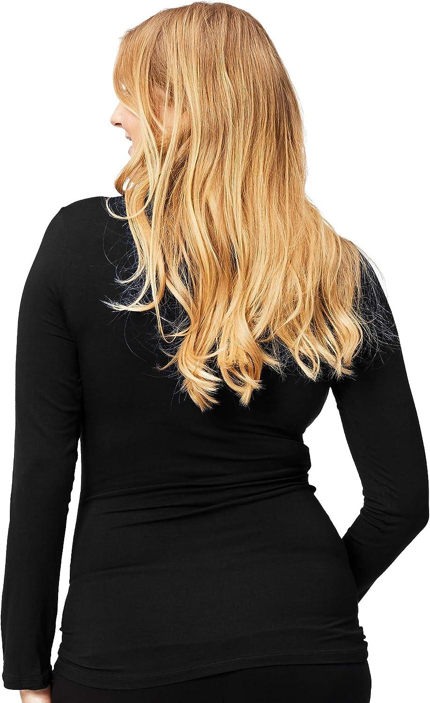 Black Cake Maternity Womens Long Sleeve Maternity and Nursing Top X-Large T-Shirt