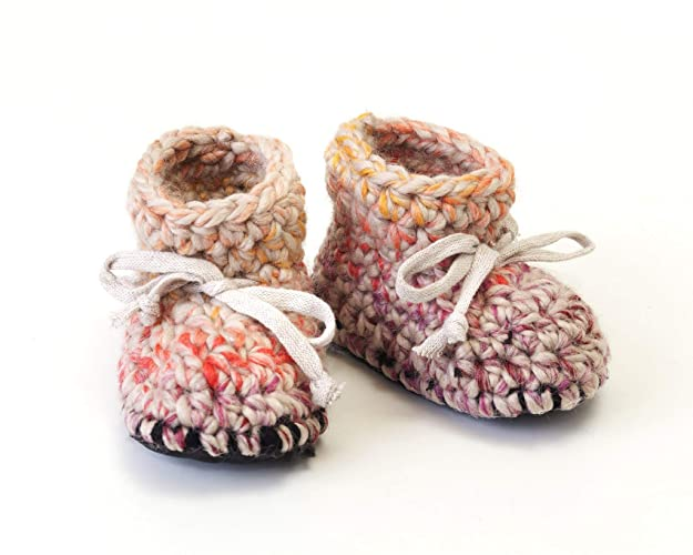 f4ae4f94a5f3f Pink purple cream crochet wool winter booties baby shower gift for ...