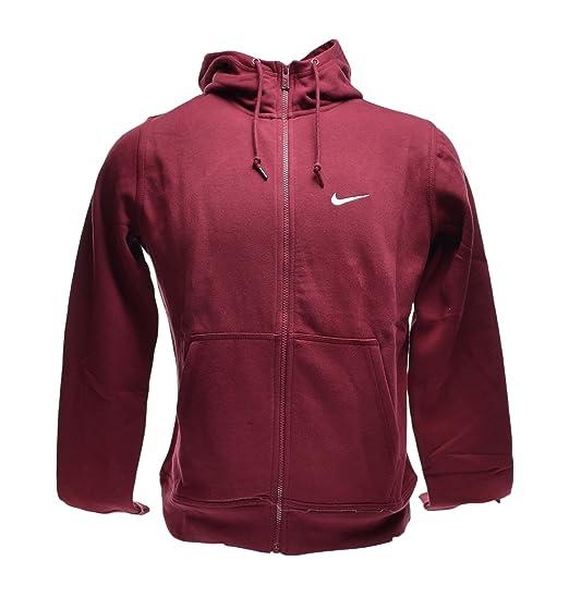 Nike Classic Club Swoosh Fleece Hoodie Full Zip Men s Sweatshirt Burgundy  611456-677 (Size 918ceb8bdde9