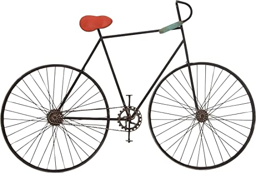 Deco 79 59467 Metal Bicycle Wall D cor, 37 x 6 , Black Red Gray