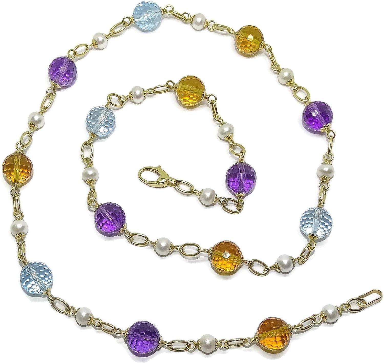 Collar para Mujer de Oro Amarillo de 18K con 14 Piedras de Color redondas y 15 perlas tipo botón de 5.5mm. 58.00cm de Largo y Cierre mosquetón grande para máxima seguridad Peso:8.50gr de oro de 18k