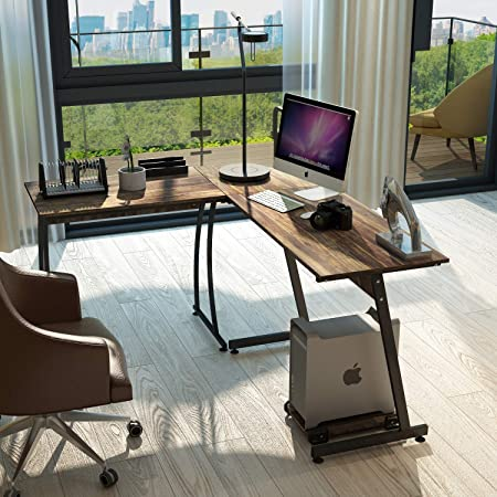 L Shaped Corner Computer Desk 59 X 51 Home Office Desks 3-Piece Corner Laptop Table with Free CPU Stand 2 Sides Switch