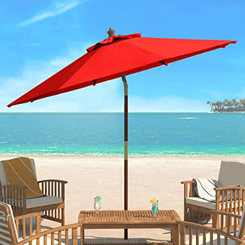 Safavieh PAT8009D Collection Cannes Red 9Ft Wooden Outdoor Umbrella, 9-Foot