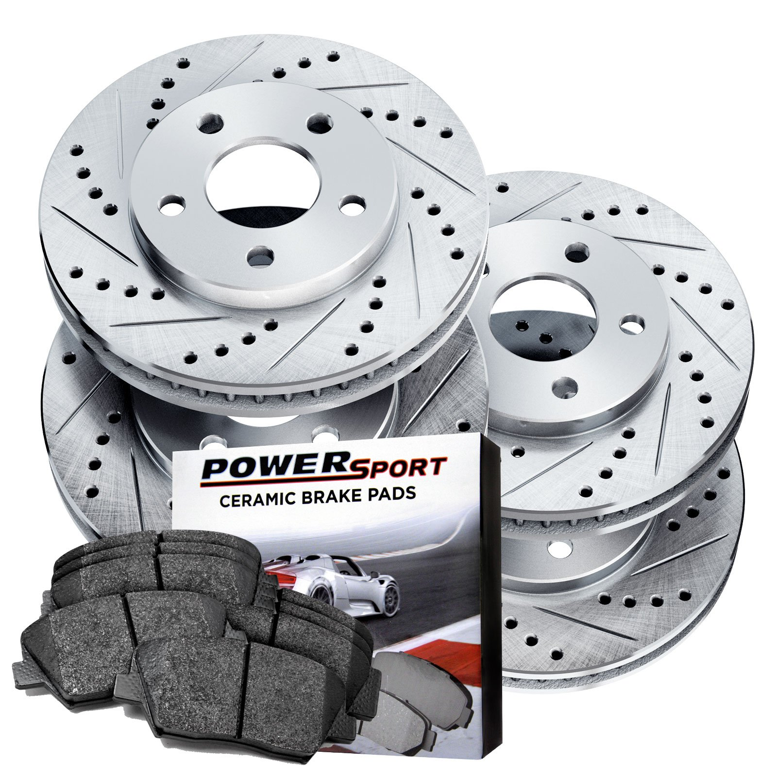 Full Kit Drilled Slotted Brake Rotors and Ceramic Pads 2010-2011 Ford F-150