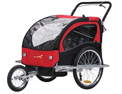 fixi Master 2 en 1 Baby Remolque de bicicleta Cochecito mano carro Jogger Rojo/Negro