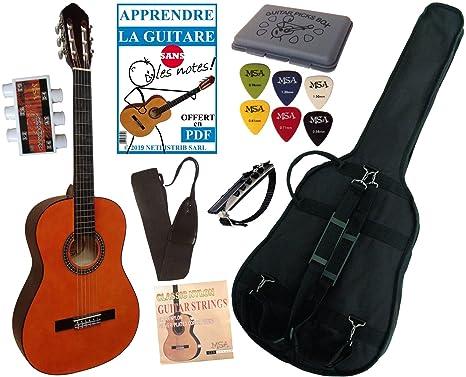 MSA - Pack guitarra clasica 4/4 con 5 accesorios, color natural