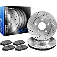 R1 Concepts KEDS10172 Eline Series Cross-Drilled Slotted Rotors And Ceramic Pads Kit - Front