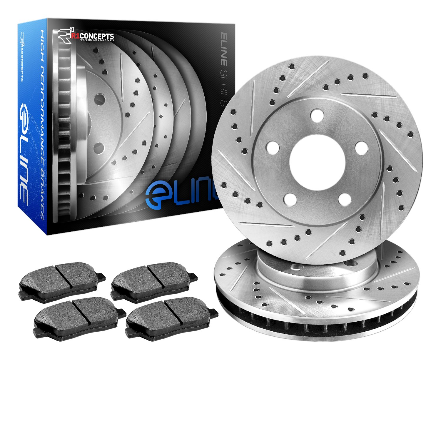 R1 Concepts KEDS10709 Eline Series Cross-Drilled Slotted Rotors And Ceramic Pads Kit - Front R1Concepts