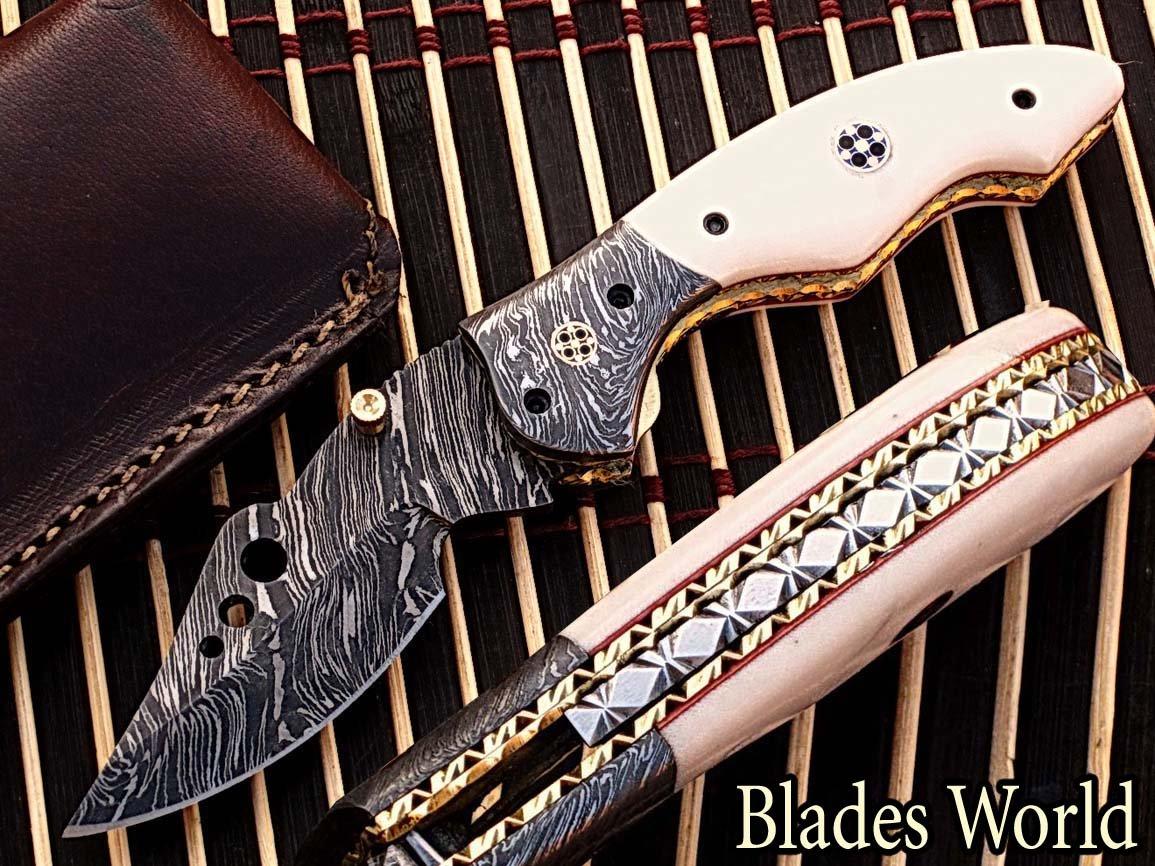 Custom Made Damaskus Stahl 18,3cm faltbar Taschenmesser mit Canadian Micarta Wood & Massiv Damaskus Nackenrolle mit Mosaikpin Griff (bdm-772)