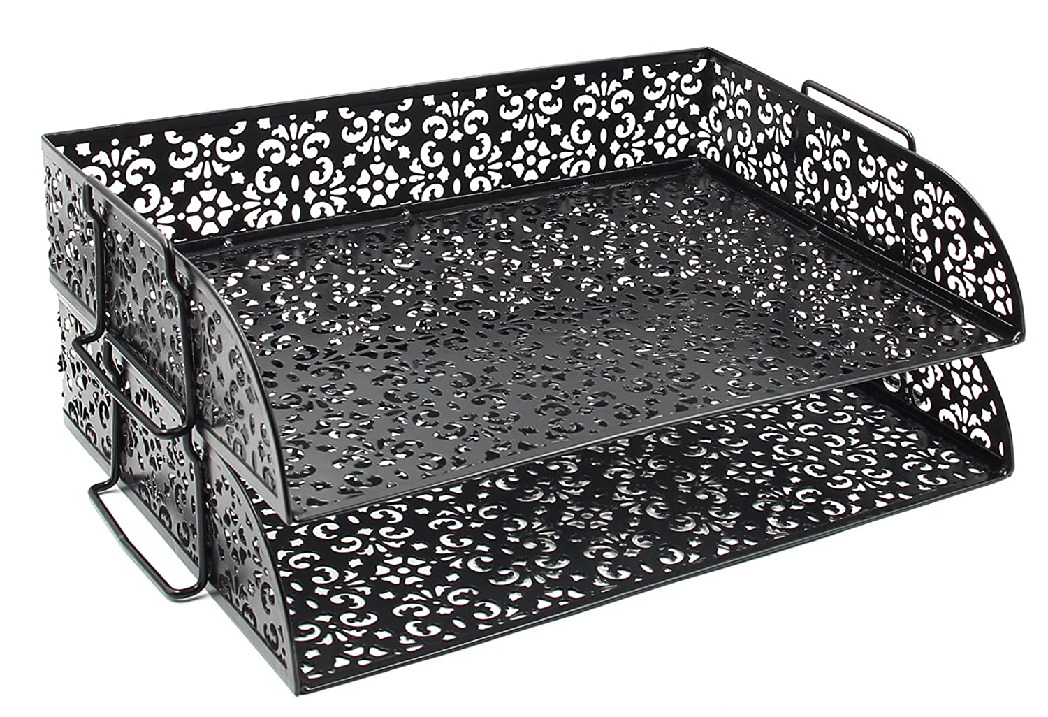 EasyPAG 2 Tier Stackable Desk Trays Document Letter Organizer (Black, Mixed Flower Pattern) Baike