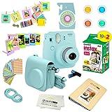 Fujifilm Instax Mini 9 Camera ICE BLUE + Accessories kit for Fujifilm Instax Mini 9 Camera Includes; Instant camera + Fuji Instax Film (20 PK) + Camera Case + instax Album + Frames + Color lens + MORE