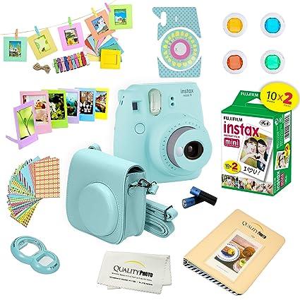 abfd6b5bda Amazon.com : Fujifilm Instax Mini 9 Instant Camera ICE Blue w/Film and  Accessories - Polaroid Camera Kit ... : Camera & Photo