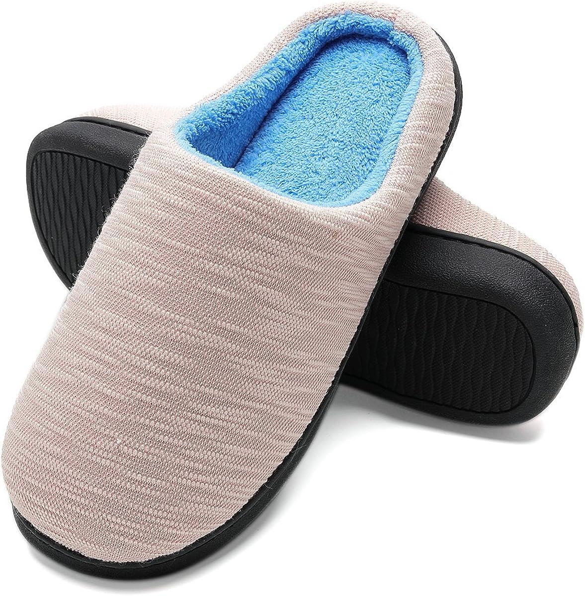 FLY HAWK Femme Maison Pantoufles Chaussons en Mousse /À M/émoire Pantoufles Doubl/ées Confort Pantoufles Doubl/ées en Peluche Antid/érapantes pour Automne Hiver
