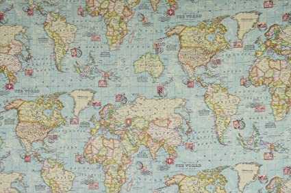 WORLD MAP FABRIC - 1 Metre - 100 x 140 cm - EXTRA WIDE Soft Furnishing  Fabric - Cotton Polyester
