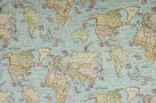World map fabric 1 metre 100 x 140 cm extra wide soft world map fabric 1 metre 100 x 140 cm extra wide soft furnishing gumiabroncs Choice Image