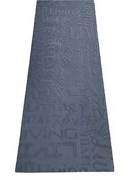 LaVelaHOME Tapis Cuisine Living Design écritures Noir Et Gris Lavable En  Machine Antidérapant 67x300 Cm Noir
