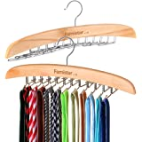 2 Pack Wooden Hangers,Famistar Multipurpose Tie Belt Scarf Rack Holder Hook for Closet Organizer Storage-Adjustable Clips Up to 24 Ties