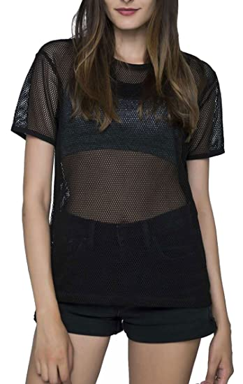 Specialmagic Fashion Short Sleeve See Through Sheer Mesh T Shirt Top
