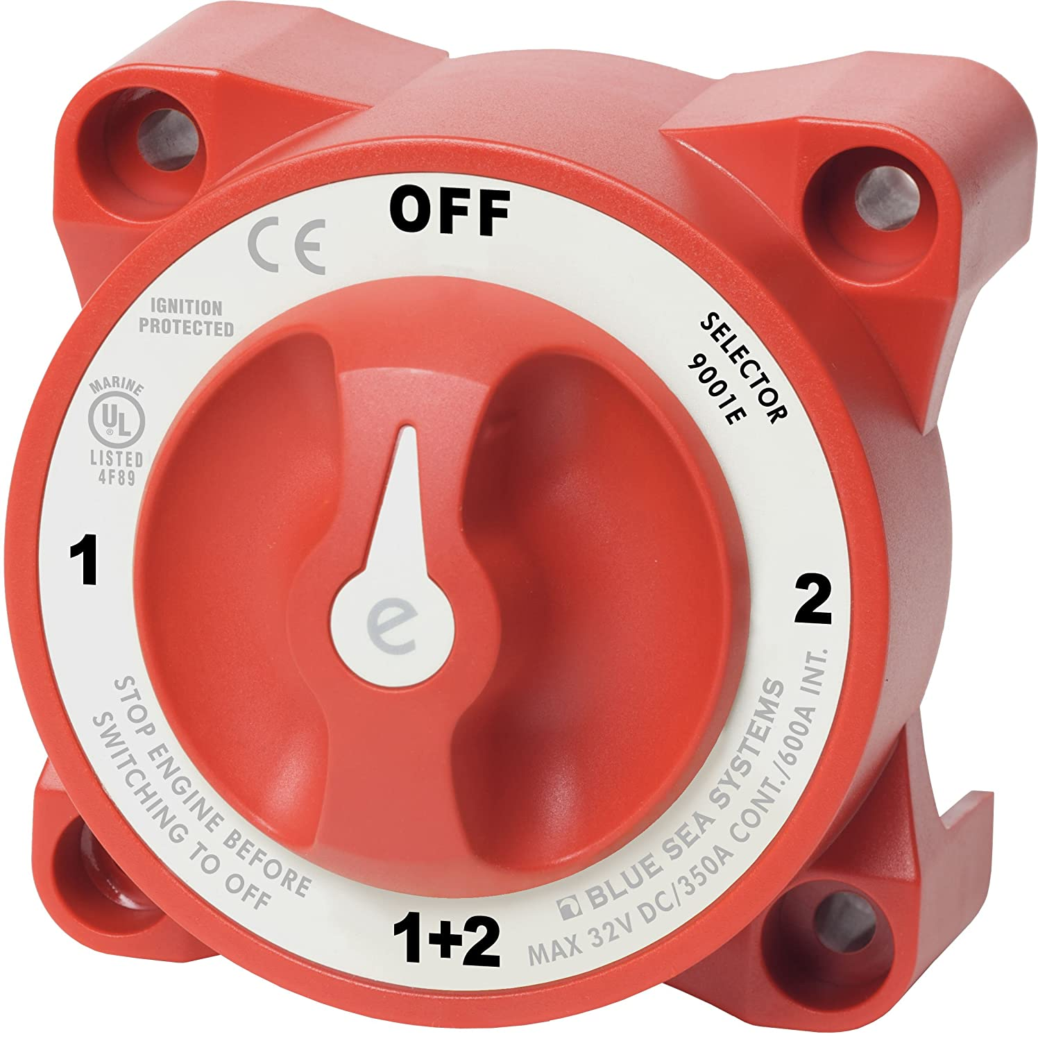 Blue Sea Red Battery Selector Switch Single-Dual Battery Operation 16-127 K-Four Switches