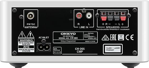 Onkyo CS-265-W - Sistema mini (Bluetooth, NFC, USB frontal) color blanco