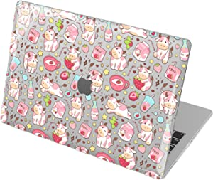 Lex Altern Hard Case Compatible with MacBook Air 13 2020 Mac 16 2019 Pro 15 inch Retina 2018 2017 12 11 Strawberry Milk Plastic Shell Cute Clear Kawaii Cover Cow Touch Bar Korean Laptop Pink mch100