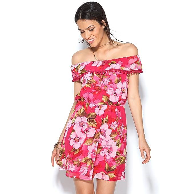 VENCA Vestido Estampado Flores Escote Redondo elástico y pasamanería pompone - 015488: Amazon.es: Ropa y accesorios