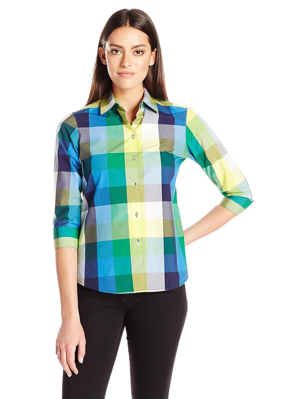 Foxcroft Women's 3/4 Sleeve Sue Multi Buffalo Shirt