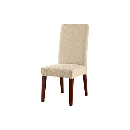 Sure Fit Stretch Jacquard Damask Short Dining Room Chair Cover Oyster