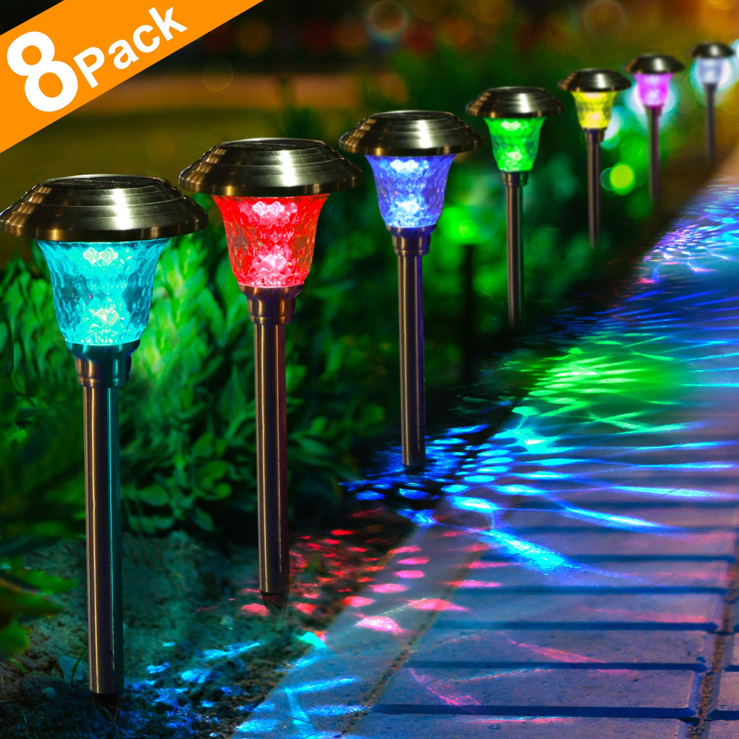Solar Lights with 7 Color Changing Pathway Outdoor Garden Stake Glass Stainless Steel Waterproof Auto On/off Sun Powered Landscape Colorful Lighting Effect for Yard Patio Walkway In-Ground Spike by BEAU JARDIN