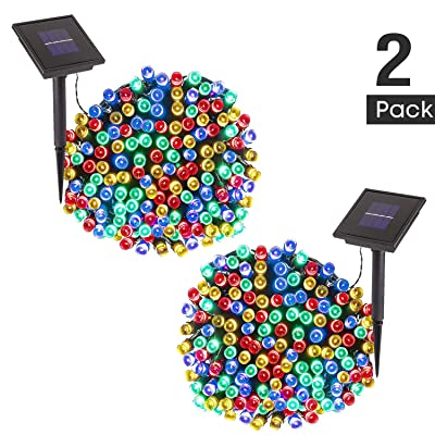 TWINSLUXES Solar String Lights - 200 LED 8 Modes Solar Powered Fairy String Lights Outdoor Lighting Waterproof Starry Lights for Xmas Tree Ambiance Garden Homes Party Decor (Multi-Color, 2 Pack)…