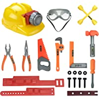 Little Handyman Kids Pretend Play Tools Playset - Construction Tool Belt with Light Up Hard Hat, Safety Goggles and Accessories |STEM Building Toys|