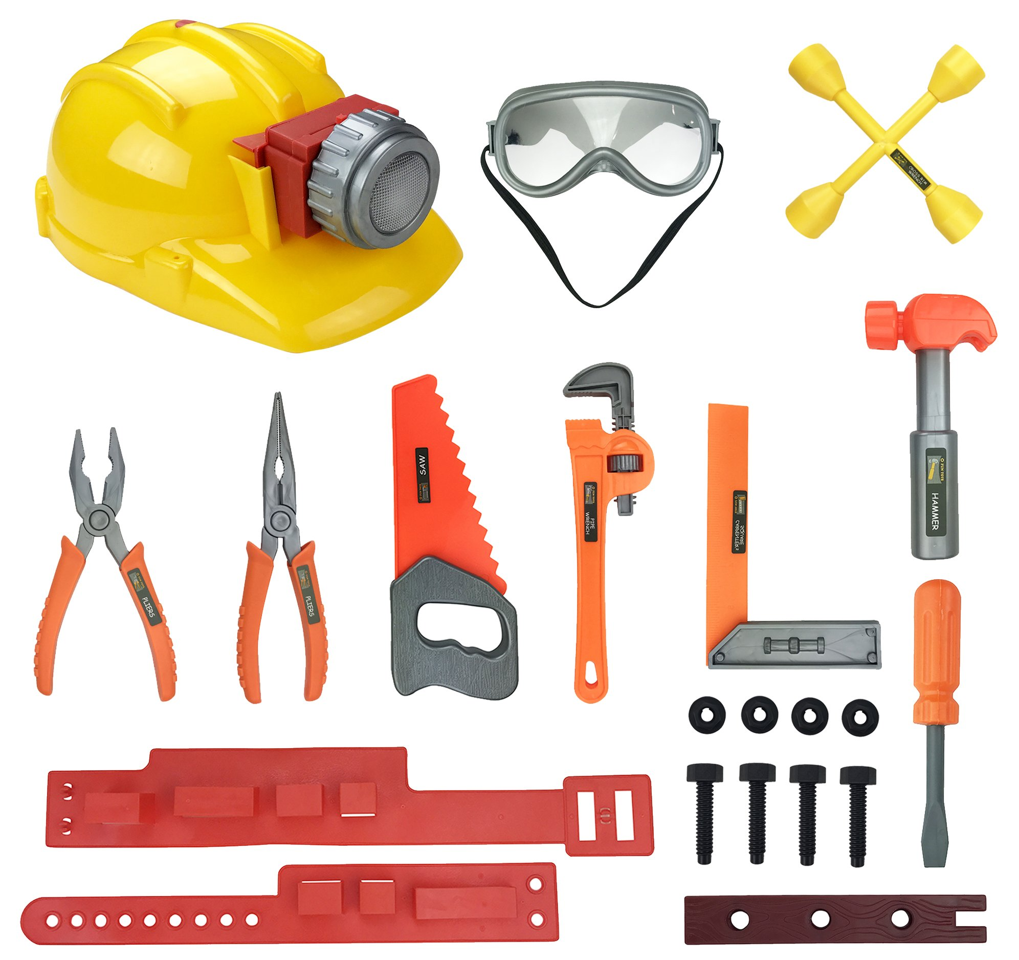 Little Handyman Kids Pretend Play Tools Playset - Construction Tool Belt with Light Up Hard Hat, Safety Goggles and Accessories - STEM Building Toys for 3, 4, 5, 6 Year Old Boys, Girls by Liberty Imports