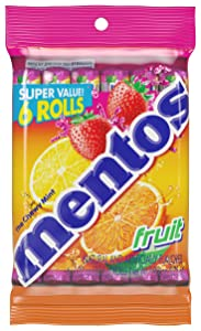 Mentos Chewy Mint Candy Roll, Fruit, Valentines Day Gifts, Bulk, Party, Non Melting, 1.32 ounce/14 Pieces (Pack of 6)