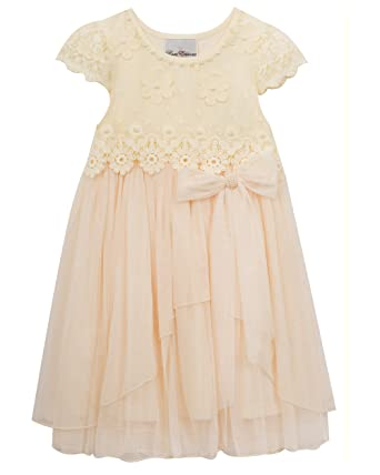 0d6e2bae1 Rare Editions Girls' Little Pearl Embroidered Party Dress, Ivory, ...