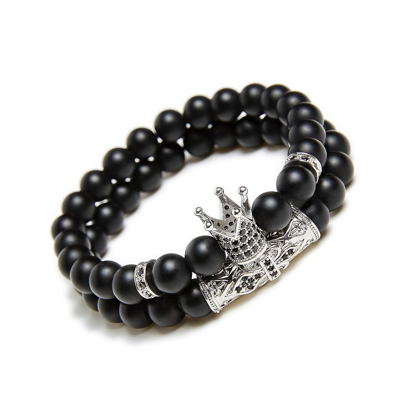 KAMRESH Black Matte Beads Bracelets 8mm Onyx Stone Bracelets Sets Charm King Crown for Women Men Jewelry