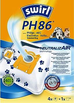 1 Filter 4 Beutel Swirl PH 86 NeutralizAir Staubsaugerbeutel f/ür Philips Staubsauger