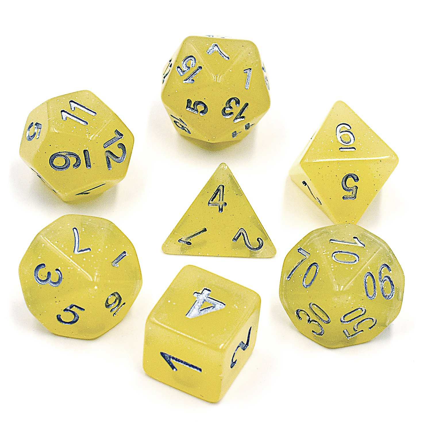 (Yellow) - HD DICE Polyhedral 7-Die Dice Set Dnd Dice Purple Galaxy Dice for Dungeons and Dragons with Purple Pouch  イエロー B07FVFTVXL