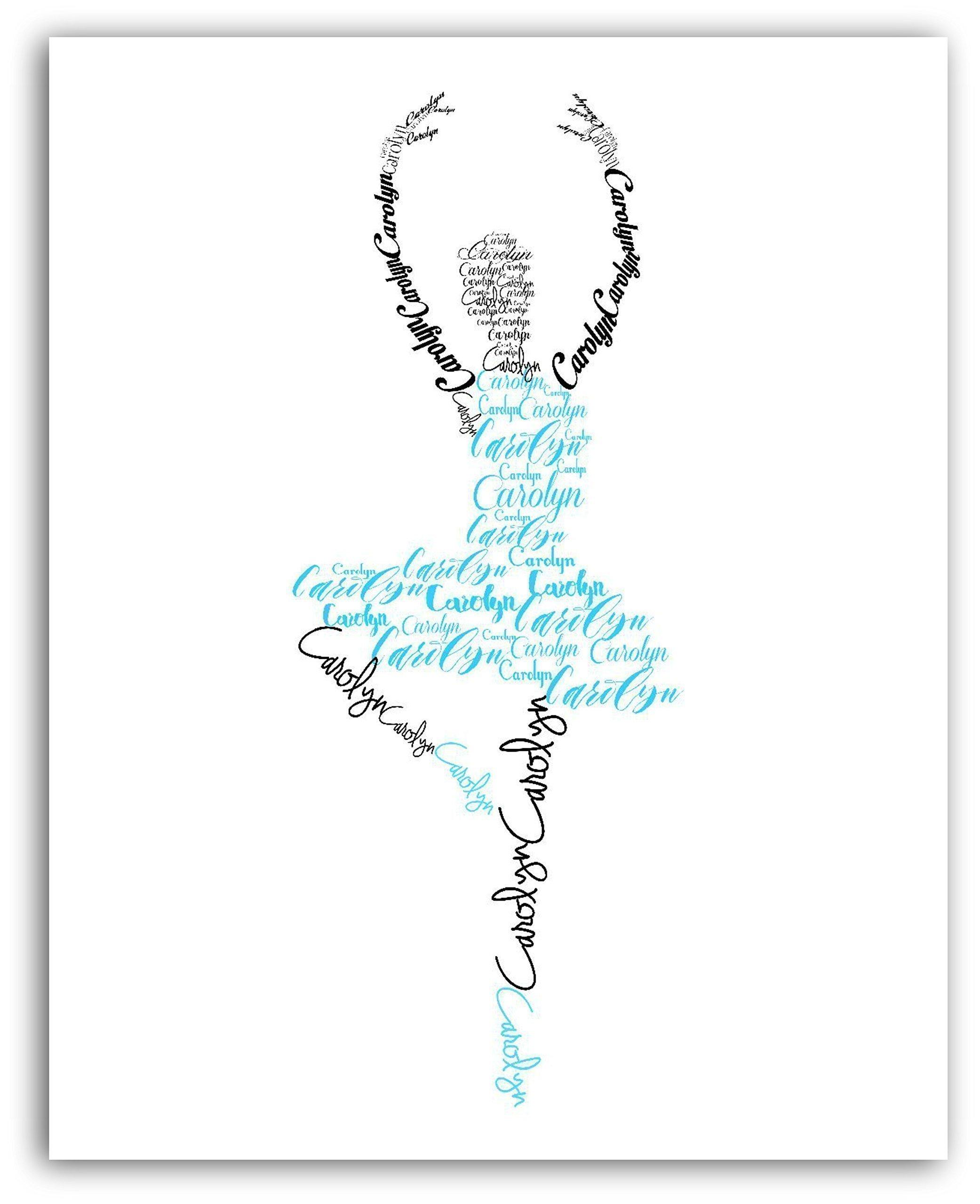 Ballerina Personalized Name Print, Ballet Dancer Gift, Dance Art, 8x10 or 11x14 Print