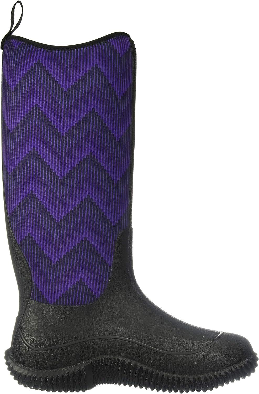 Muck Boot Women's Hale Rain Boot Black/Purple Chevron